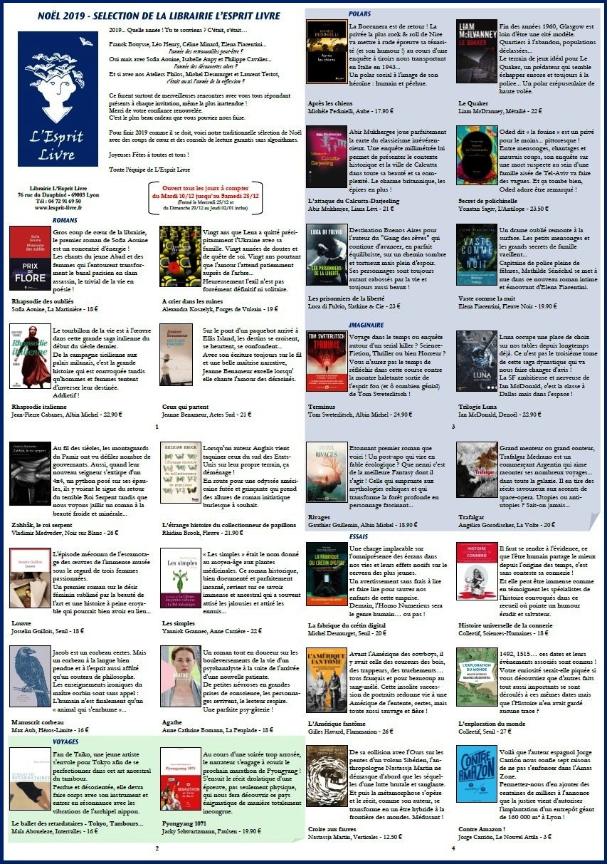 Sélection de Noël 2019 de la librairie L'Esprit Livre